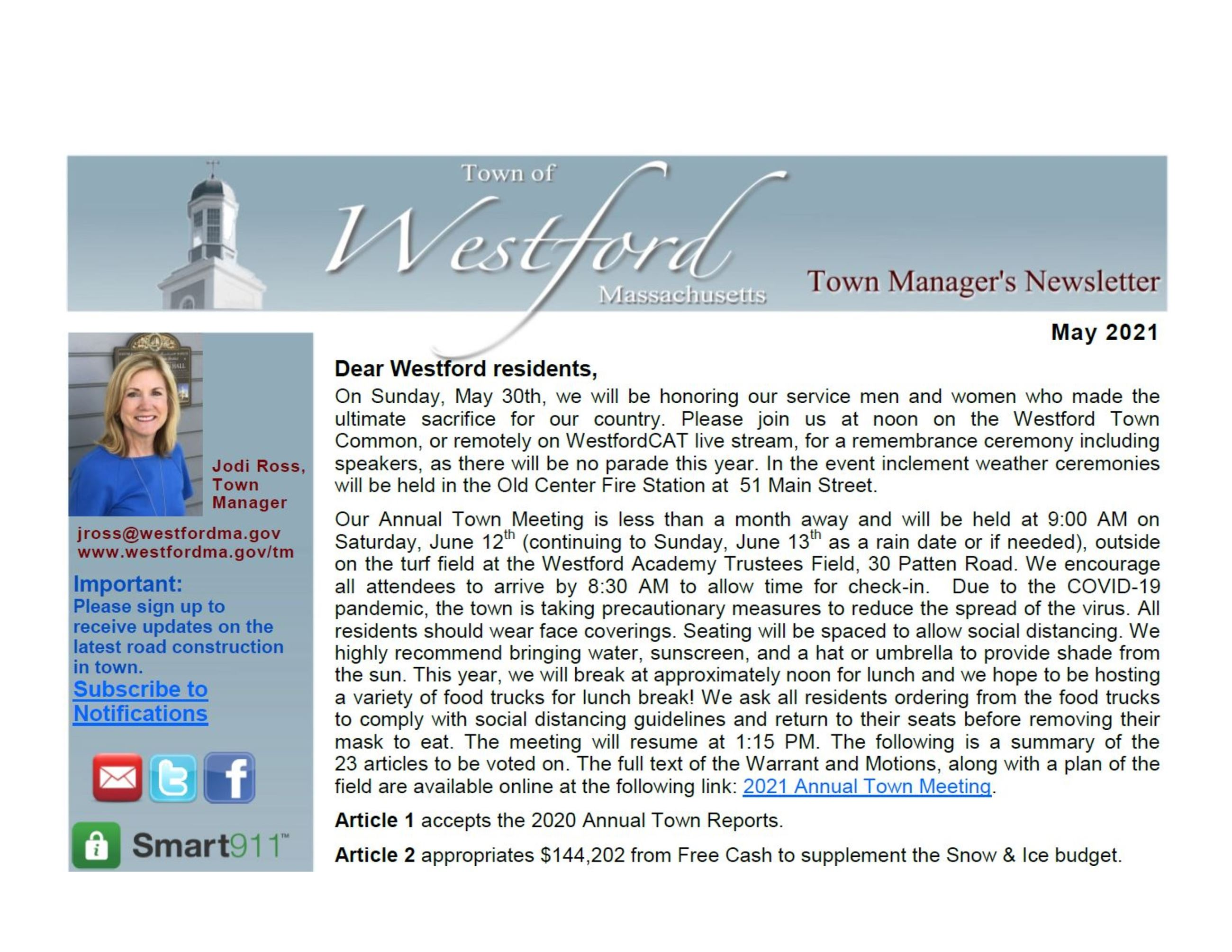 Westford Newsletter May 2021