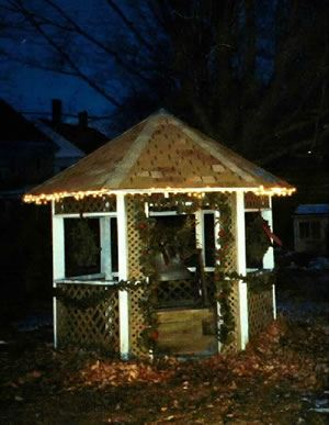 Gazebo With Festive Lights at Night