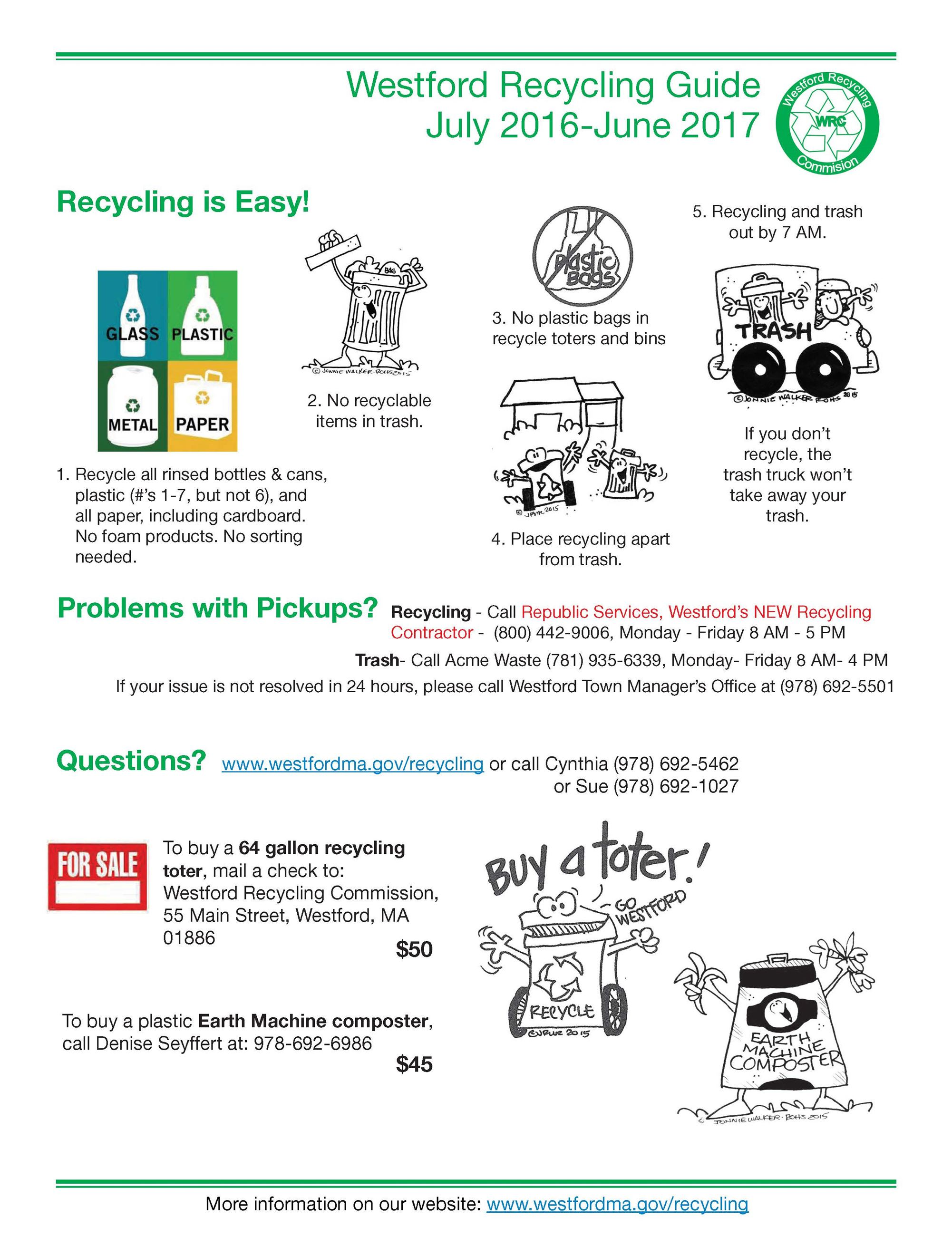 Recycling Guide (PDF) FY2017 June 2016 to July 2017 first page