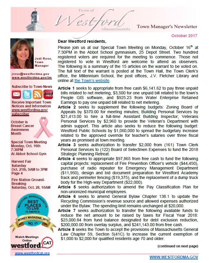 TM Newsletter October 2017 front page