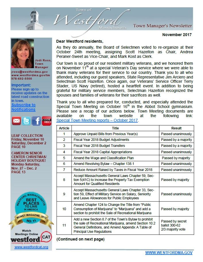 TM Newsletter November 2017 front page