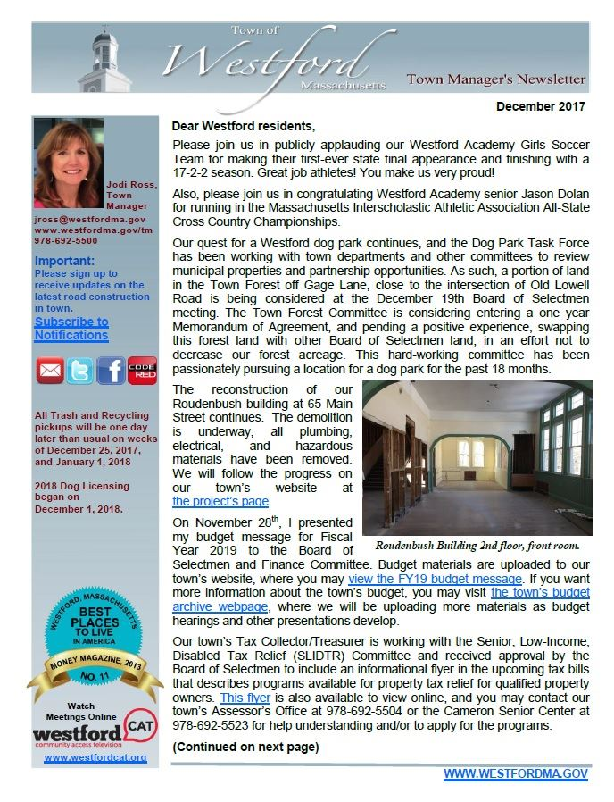 TM Newsletter December 2017 front page