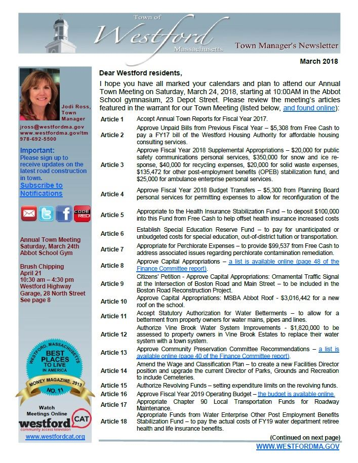 TM Newsletter March 2018 front page