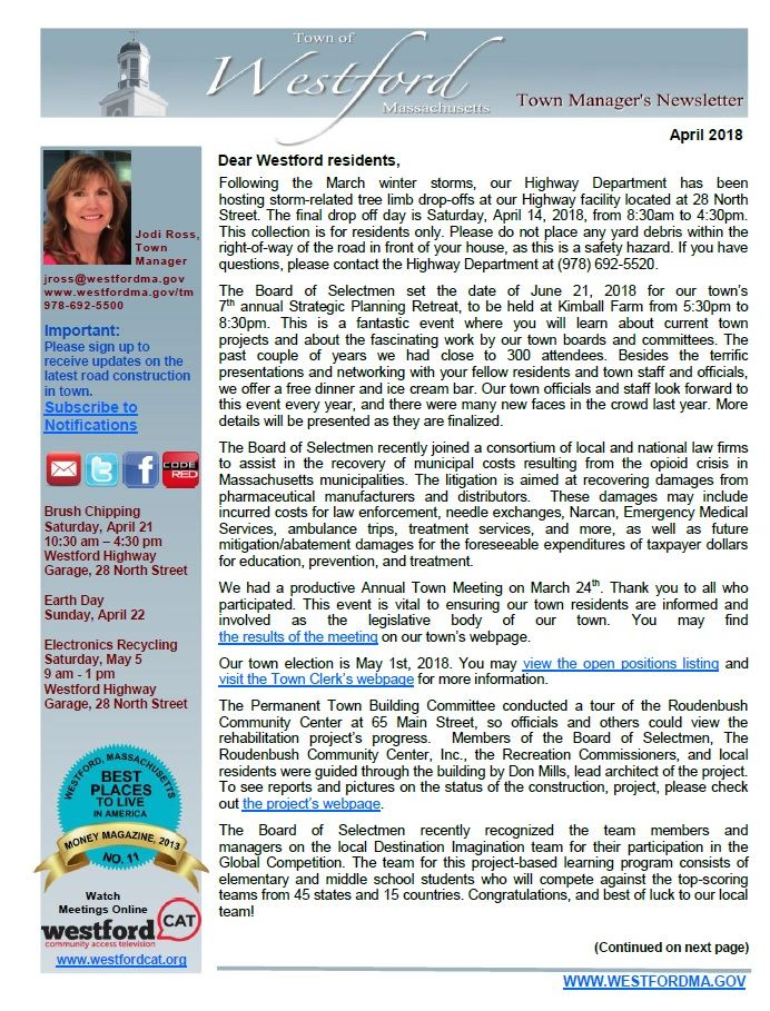 TM Newsletter April 2018 front page
