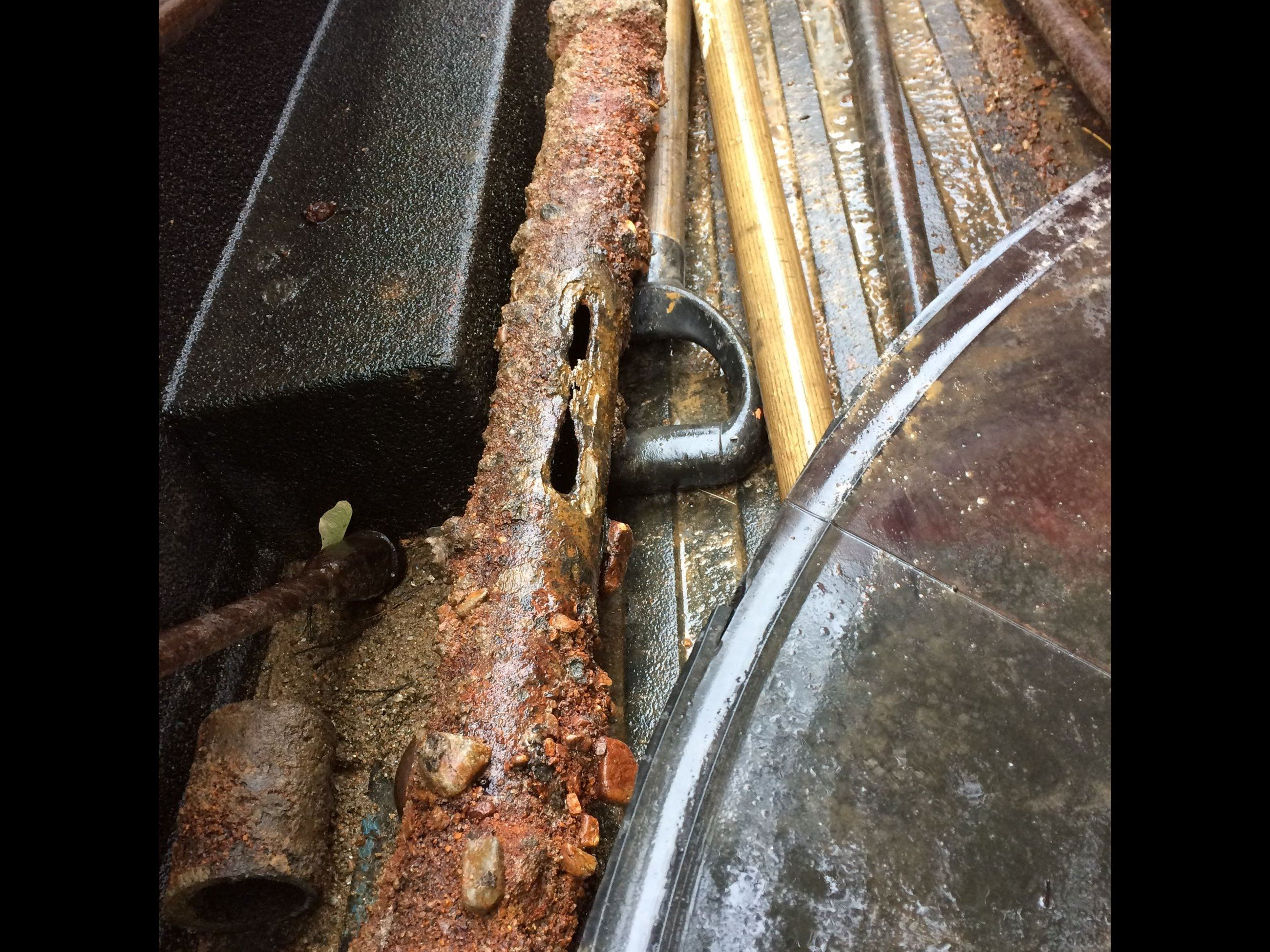 2 inch steel pipe from july 2018 forrest street water main break