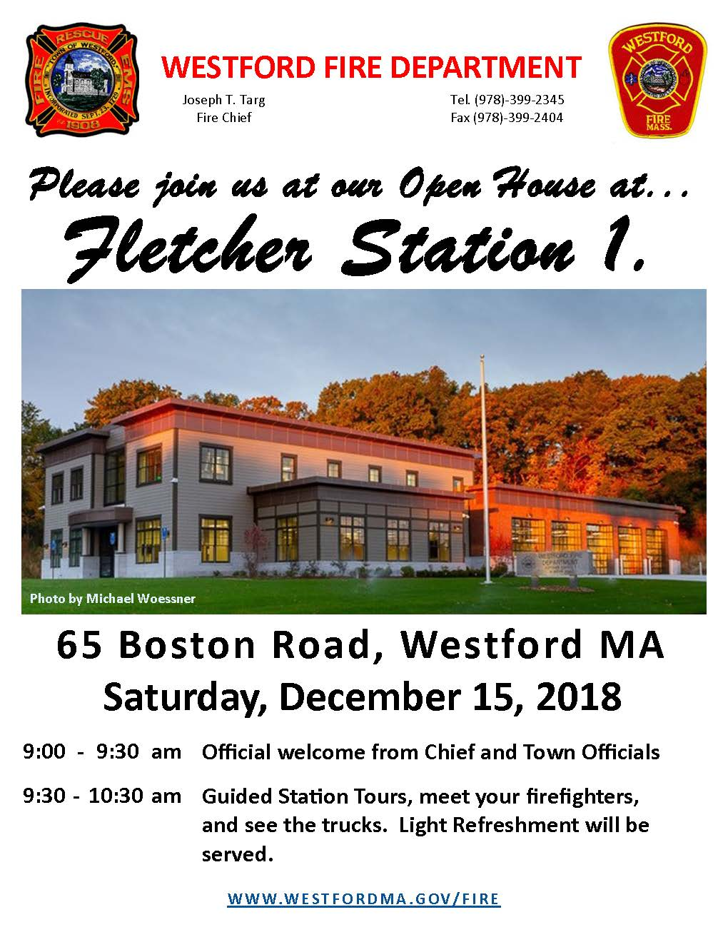 Fletcher Fire Station 1 Open House Flyer