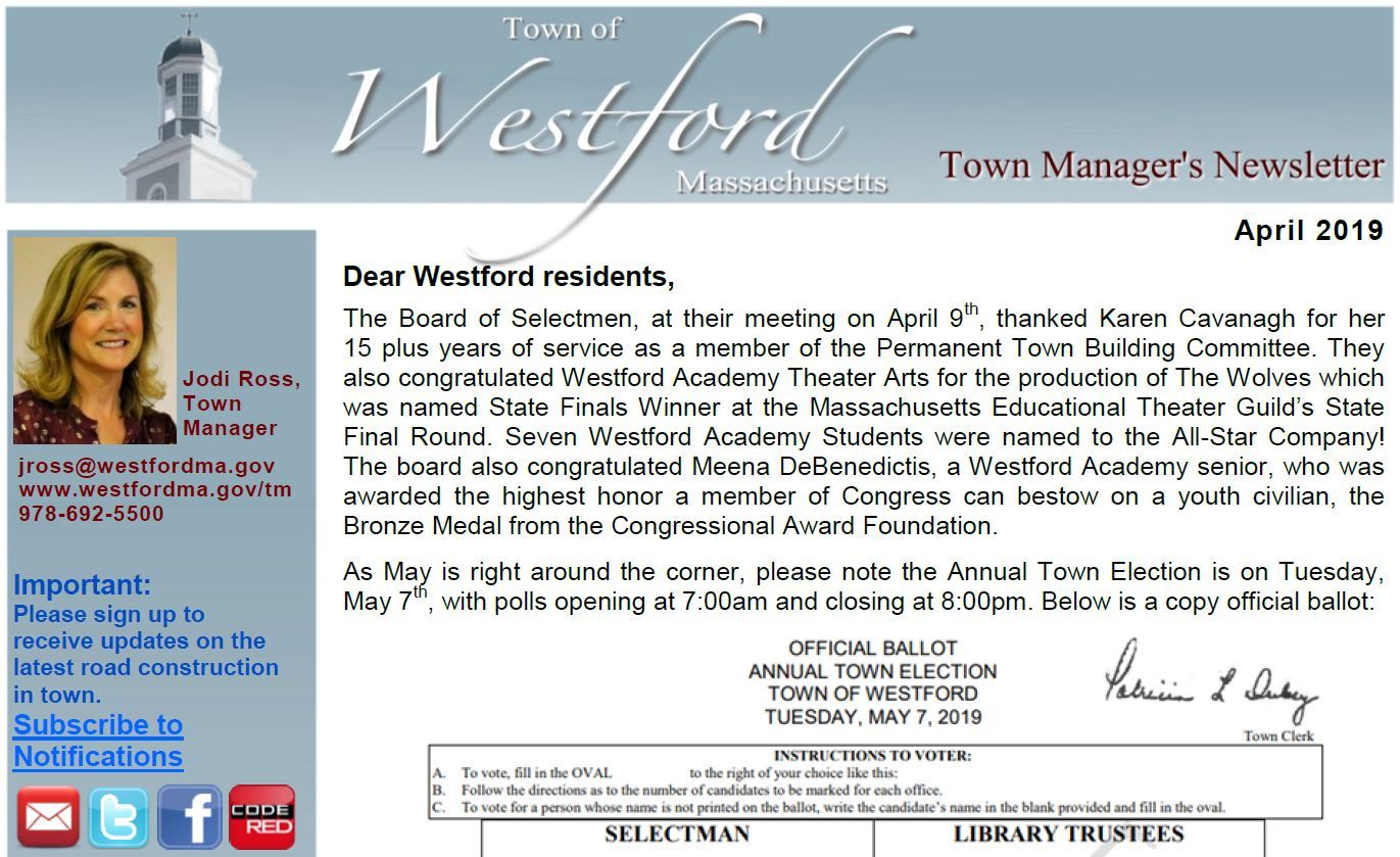 Westford Town Manager&#39s Newsletter