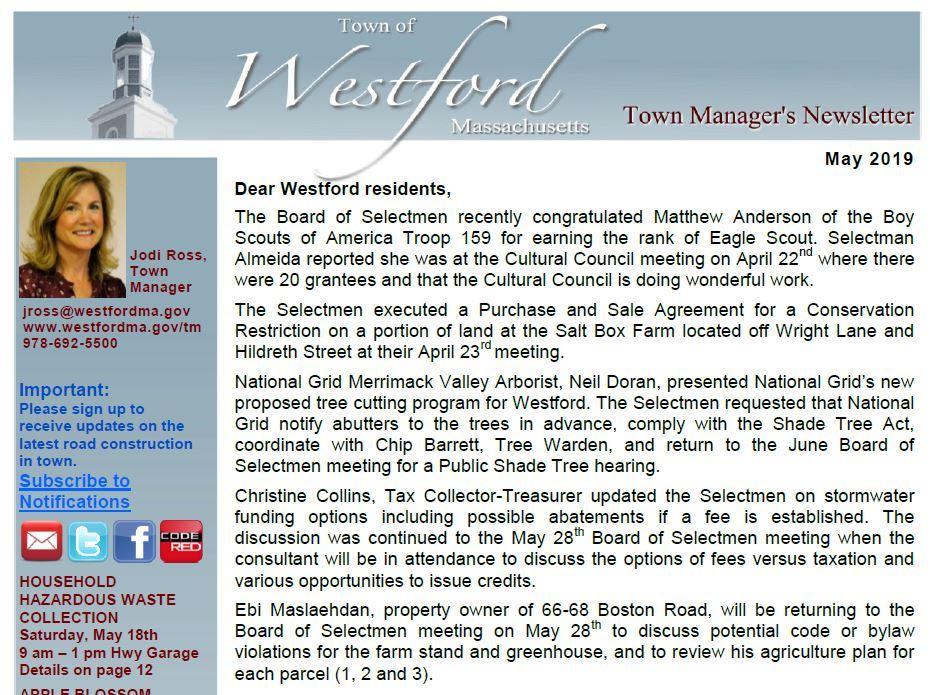 Town Manager&#39s Newsletter - May front
