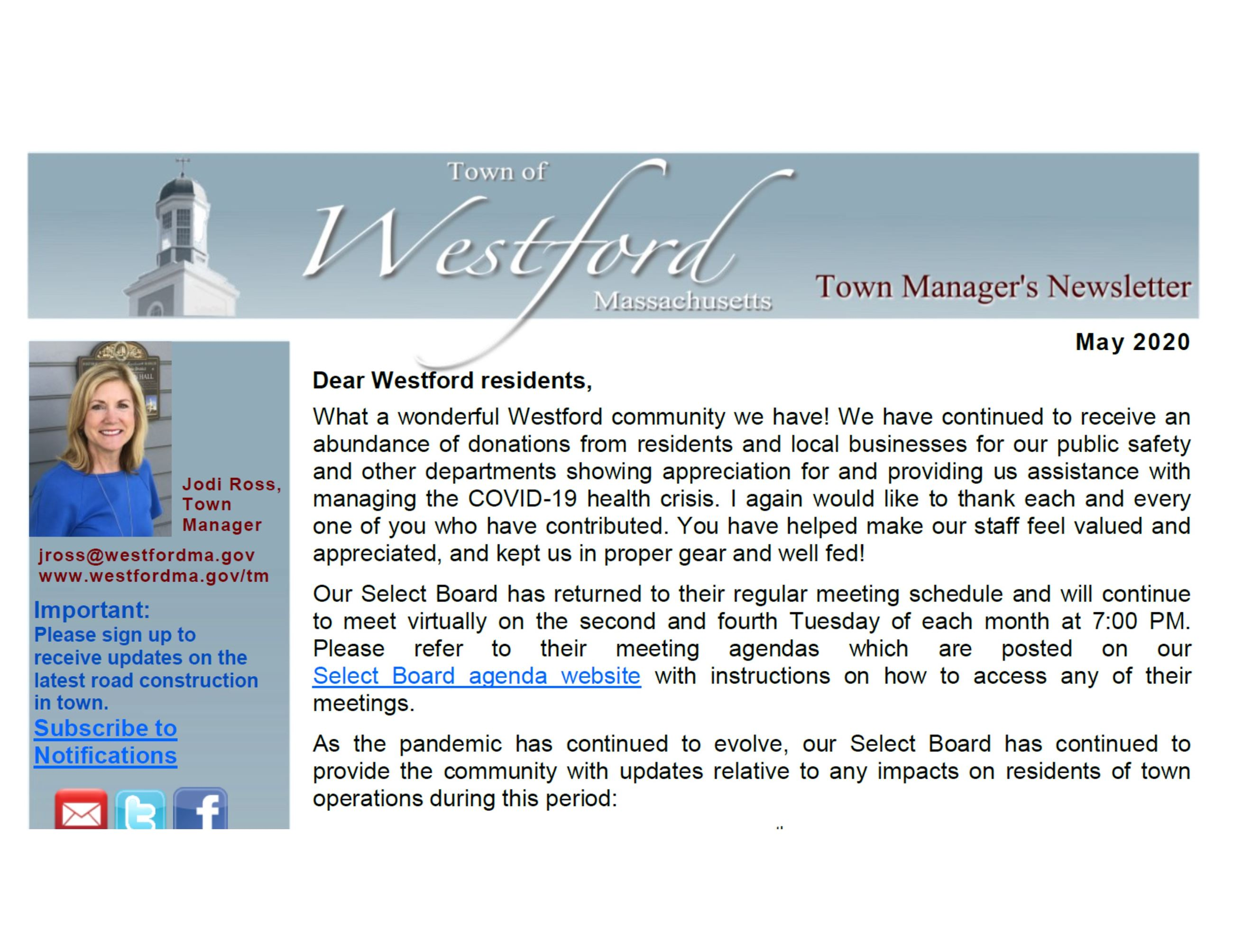 Westford Newsletter May 2020