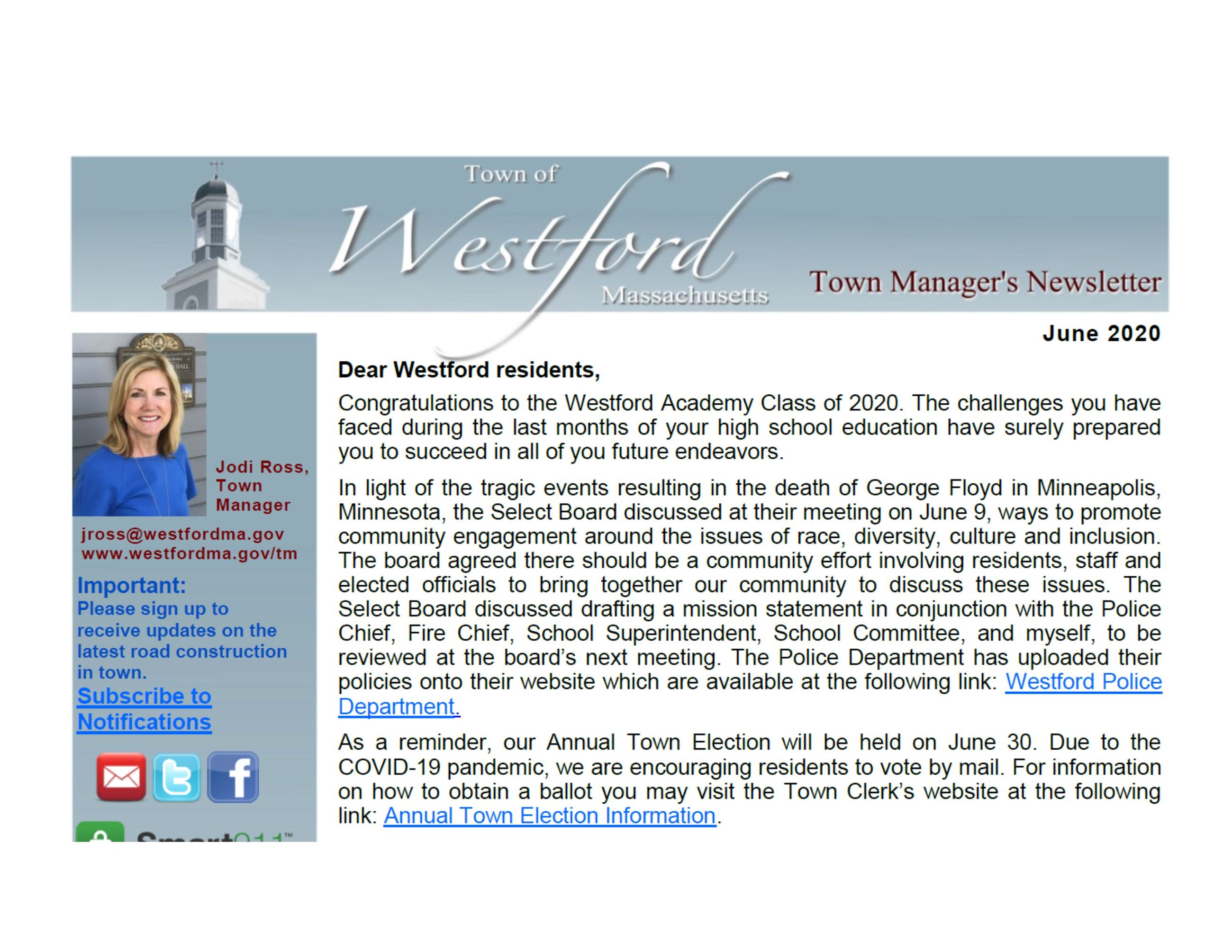 Westford Town Manager's Newsletter