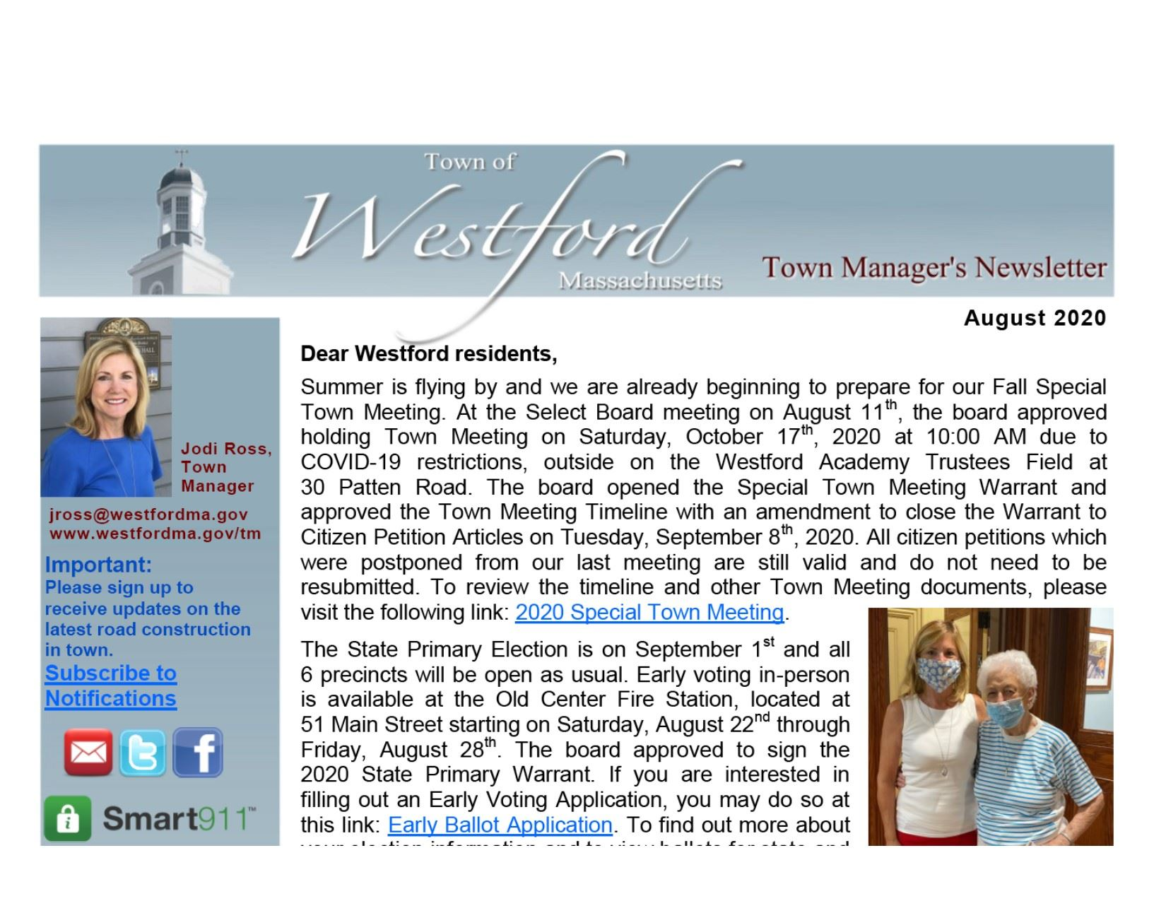 Westford Town Manger's August 2020 Newsletter