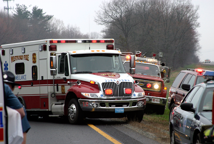 Ambulance Approaches the Scene of an Accident