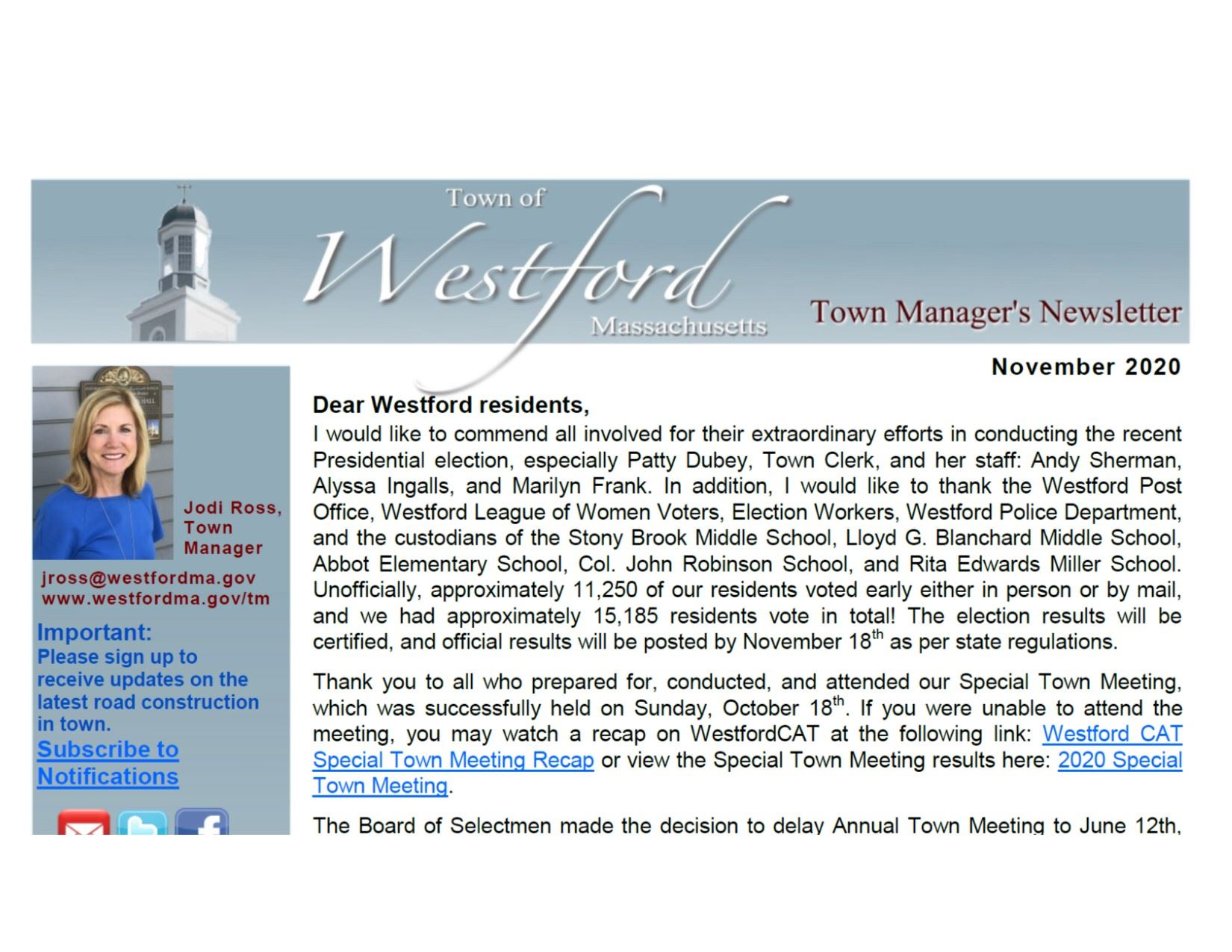 Westford Town Manager's November 2020 Newsletter