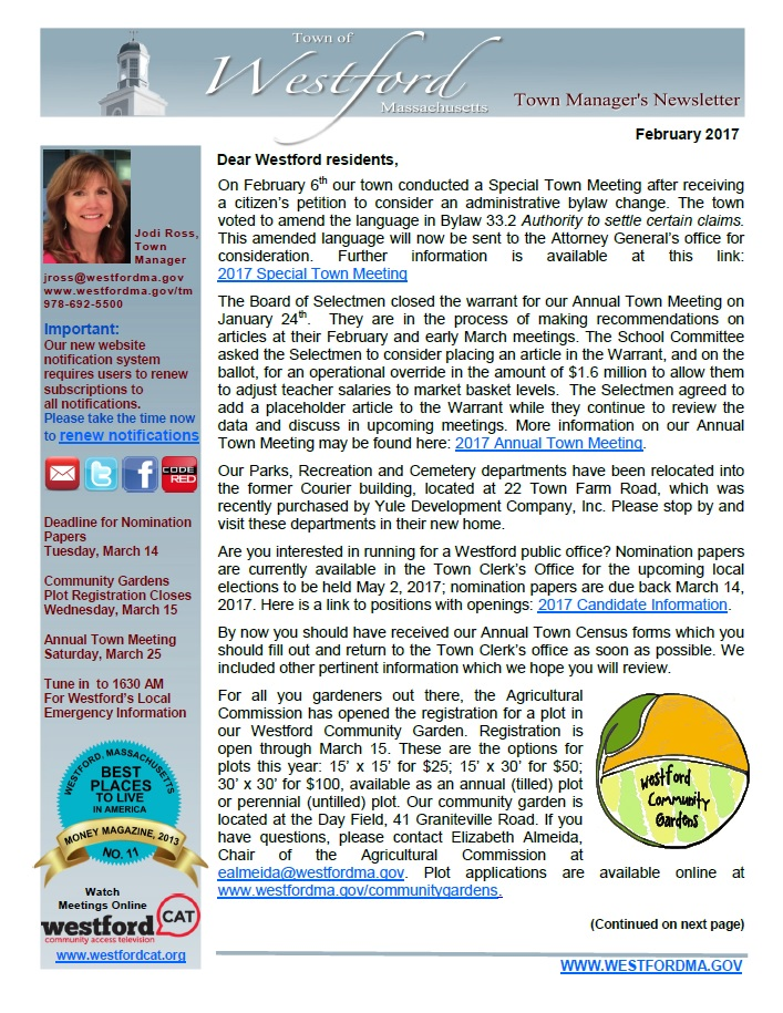 Town Manager's newsletter February 2017 front page